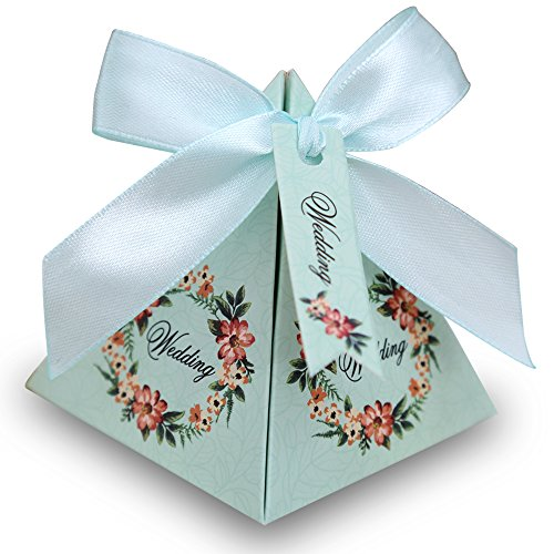 Doris Home 100 pcs Floral Pyramid Wedding Favor Candy Boxes Bridal Shower Party Paper Gift Box with Tag (Tiffany Blue, 7.2*7.2*8cm)