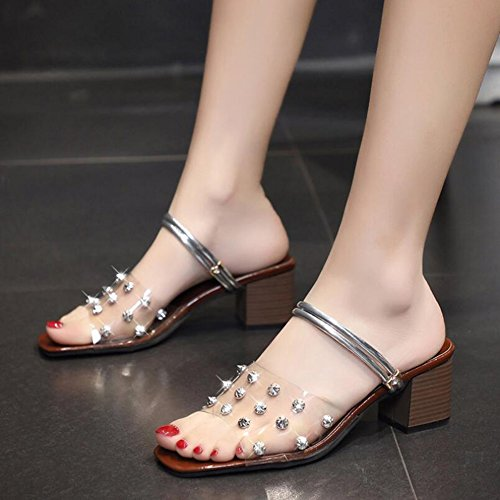 2018 Summer PVC Party Sandals New amp; Evening Transparent 38 Dress Chunky Sandals Rivets Shoes Women's Color B Heel Size Club for 5qE1Ixnw