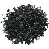 SUNYIK Black Agate Tumbled Chips Stone Crushed Pieces Irregular Shaped Stones 1pound(about 460 gram)
