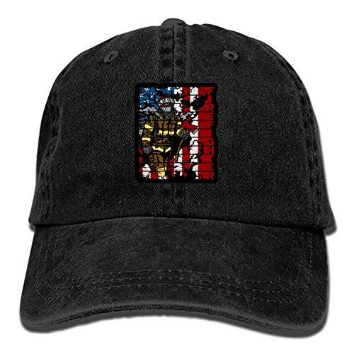 Denim Fabric Adjustable Firefighters Flag Vintage Baseball Cap -