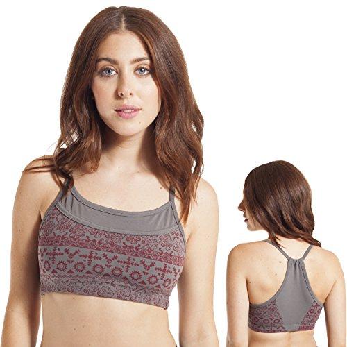 Rise Organic Cotton (Organic Cotton Aztec Sunrise Stripe Yoga Bralette-M/L-Grey)