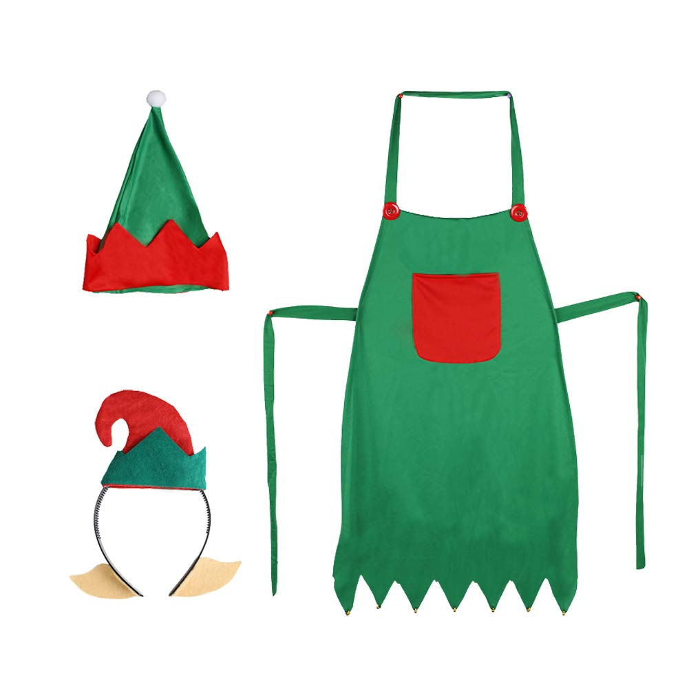 3 otters Christmas Elf Apron, Adjustable Size Fashion Kitchen Apron 3pcs with Cute Elf Hat and Elf Headband for Christmas Dress-up Party Favors