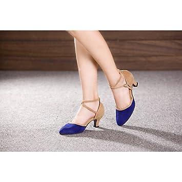 33a7a892336 T.T-Q Chaussures de Danse pour Femmes Belly Samba Velours Synthétique Talon  cubain Multicolore Autres