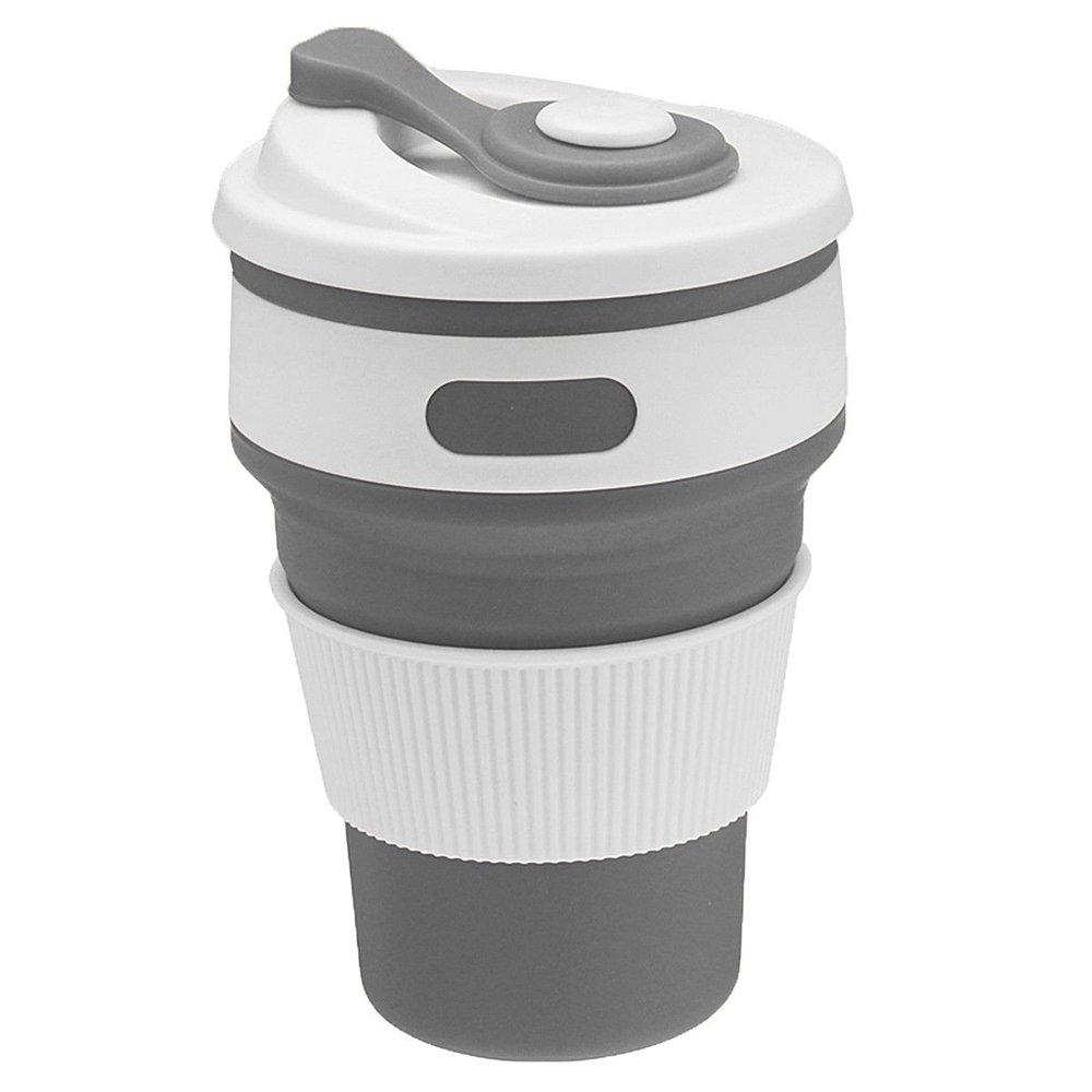 mintbon Collapsibleシリコン軽量コーヒーカップ、再利用可能な折りたたみマグ旅行カップ漏れ防止ウォーターボトルforアウトドアキャンプハイキング& Officeホーム使用 グレー Mintbon B0796NXSFF グレー グレー