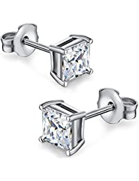 18K Gold Plated Silver Princess Cut Simulated Diamond CZ Stud Earrings, 925 Sterling Silver Princess Cubic Zirconia Square White CZ Earrings Stud