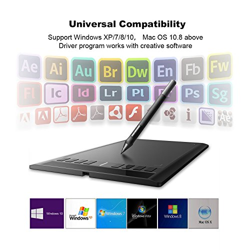 Ugee M708 Pro Digital Drawing Graphics Tablet 8192 Sensitivity Level 10x6  Inch Active Area Animation Art Design