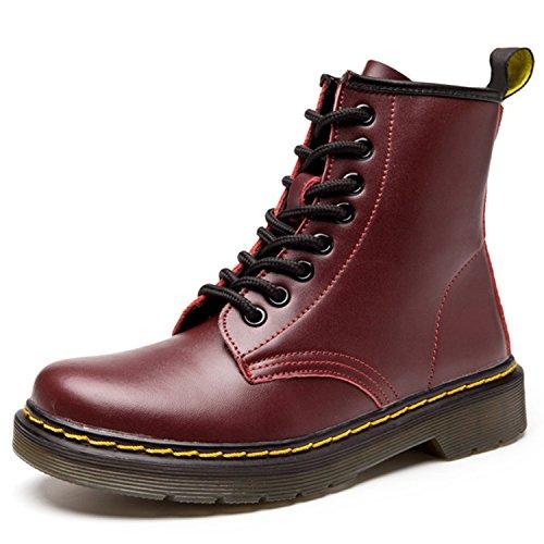 ukStore Damen Martin Stiefel Derby Wasserdicht Kurz Stiefeletten Winter Herren Worker Boots Profilsohle Schnürschuhe Schlupfstiefel Ungefüttert/Wein Rot