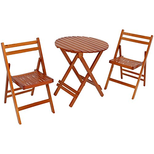 Sunnydaze 3-Piece Bistro Set, Folding Outdoor Wood Patio Furniture, Round Table and 2 Chairs, Brown (Bistro Table 2 And Set Wooden Chairs)