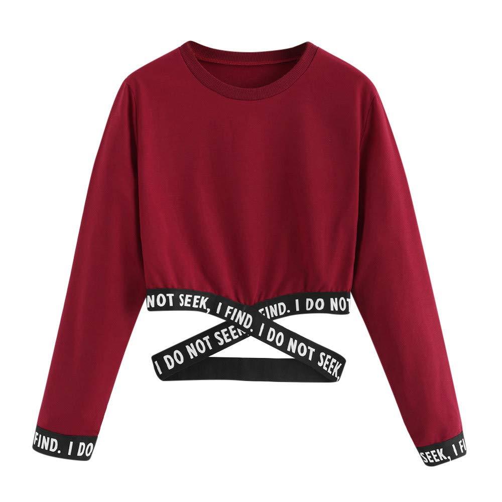 VANSOON Womens Teen Girls Letters Printing Long Sleeve Sweatshirt Short Pullover Tunic Tops Blouse Crop Top Shirt Red