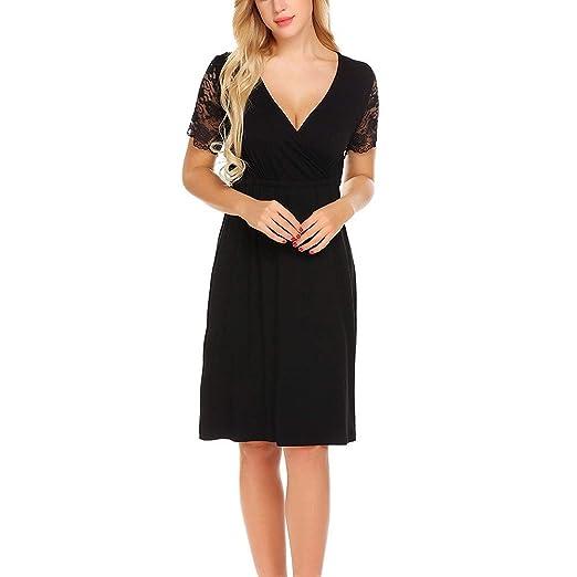 27e22559a2812 Women's Summer Dress Maternity Solid Lace Short Sleeve Loose Long Nursing  Breastfeeding Maxi Dresses (S