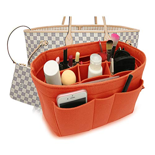 Felt Insert Fabric Purse Organizer Bag, Bag Insert In Bag with Zipper Inner Pocket Fits Neverfull Speedy 8010 Orange XL