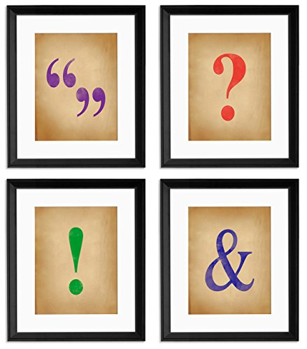 Ampersand, Exclamation Point, Question Mark and Quote Marks Framed Watercolor Style Poster Set for Home, Office, Classroom or Library by ECHO-LIT