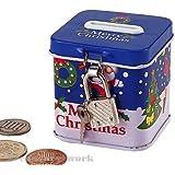 クリスマス鍵付缶貯金箱