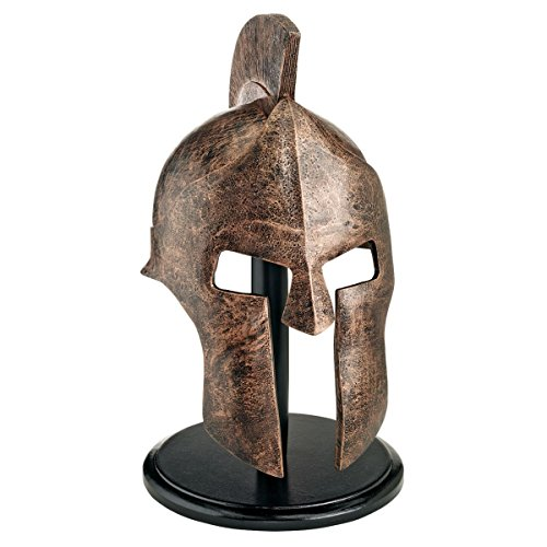 Design Toscano Greek Spartan Helmet Corinthian Armor  Statue with Stand, 16 Inch, Polyresin, Bronze Finish]()