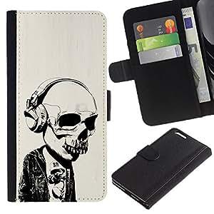 Protector de cuero de la PU de la cubierta del estilo de la carpeta del tirón BY RAYDREAMMM - Apple Iphone 6 PLUS 5.5 - Auriculares Street Style Skull Skeleton