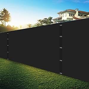 """shatex Pro seguridad y privacidad parabrisas, negro, 6""""x12Lock agujeros, con cremallera y lazos para instalación rápida, Heavy Duty Shade de malla valla para jardín Patio/construcción sitio/cubierta/balcón piscina"""