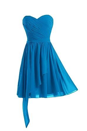 Gorgeous Bride Elegant Rundkragen Mini Taft Tuell Etui Brautmutterkleid kleid  Cocktailkleid Partykleid-32 Blau