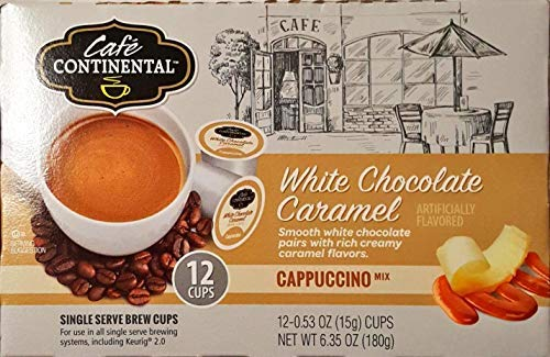 Cafe Continental WHITE CHOCOLATE CARAMEL Cappuccino 12 Cups. Single Serve Brew Cups, Keuring 2.0. (White Chocolate - Chocolate Caramel Cups