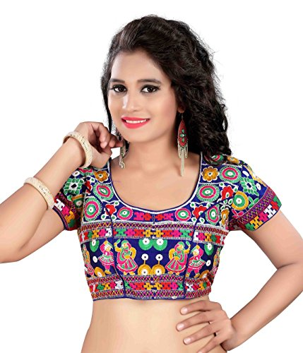 Womens Cotton Heavy Embroidery Work Stitched Multi Color Saree Blouse Crop Top