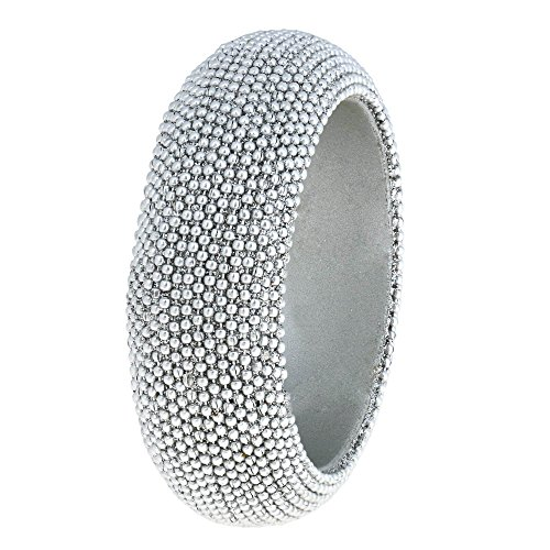 Christmas Jewelry Silver Beaded Bangle Bracelet Handmade in India by ShalinIndia