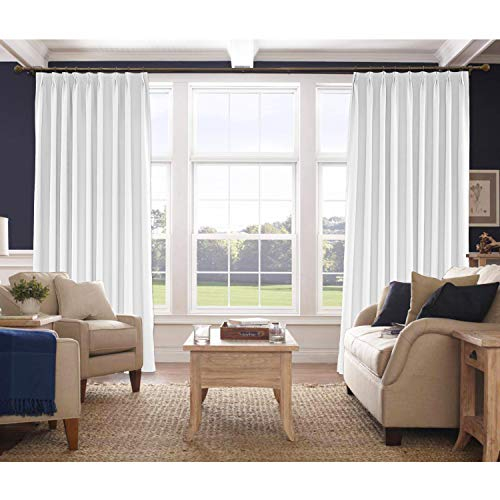 Macochico Extra Long Faux Linen Curtain Pinch Pleated Room Darkening Window Treatment Panel for Living Room Family Room Dining Room Kid Room Library, Snow White 100W x 102L Inch (1 Panel) ()