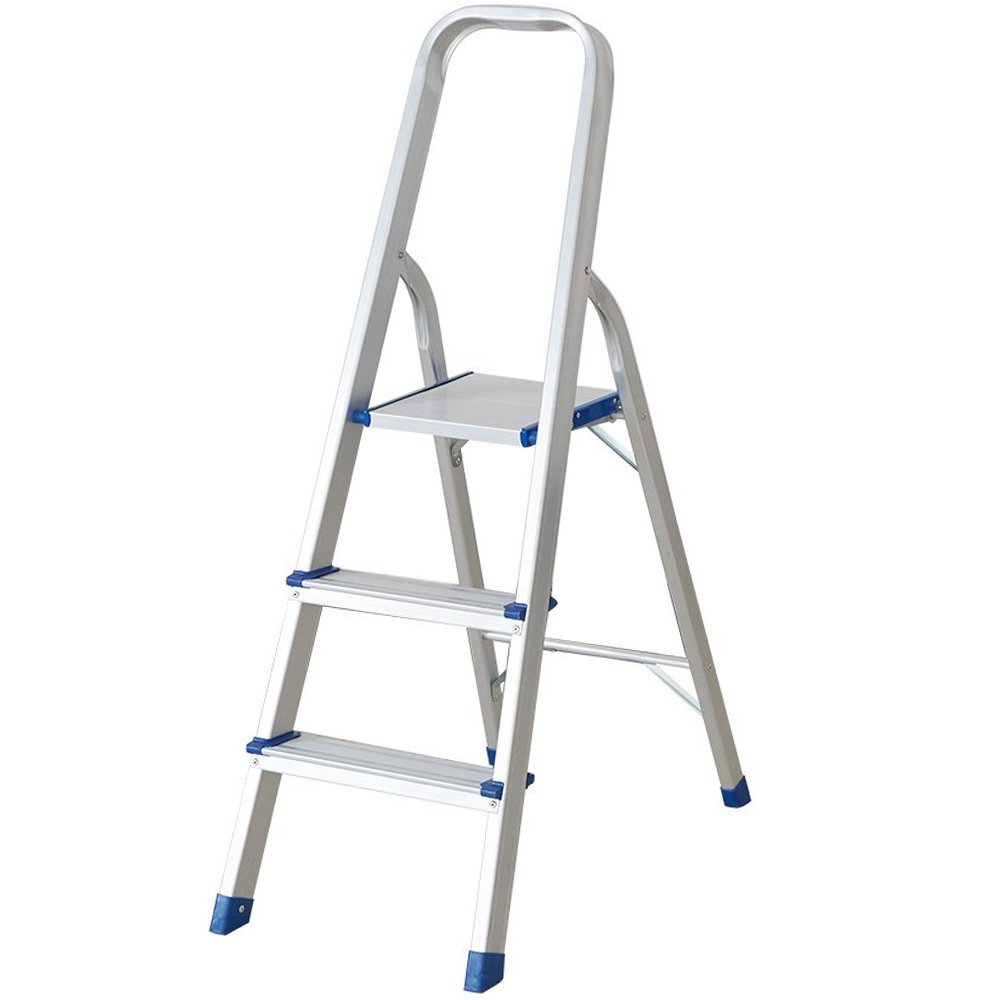 KARMAS PRODUCT 3-Step Stool with Hand Grip Aluminum Step Ladder 300Lbs Load
