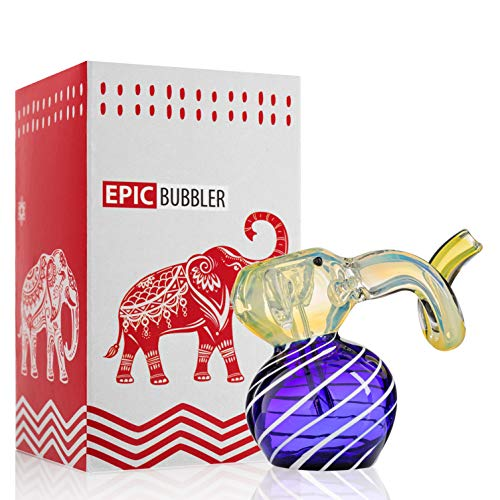 Epic Hand Elephant Glass Water Device 5 inch Blue