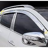 K-711 Chrome Silver Exterior Window Visor Deflector Shade Guard Molding Trim for Hyundai ix35/Tucson ix 2010-2014