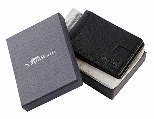 NapaWalli RFID Blocking Bifold Slim Genuine Leather Thin Minimalist Front Pocket Wallets for Men Money Clip Made From Full Grain Leather