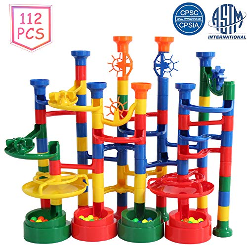 BMAG Marble Run Set for Kids, Unique Marble Race Track Design, Marble Maze Game Toys, STEM Construction Building Set 112PCS