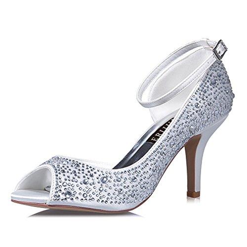 ERIJUNOR E8736 Women's Peep Toe High Heels Ankle Straps Rhinestones Satin Shoes for wedding Prom Party Ivory US 6