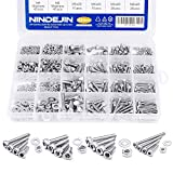 880Pcs M2 M3 M4 M5 Stainless Steel Precise Metric Hex Socket Head Cap Self Tapping Screws,Round Flat Socket Bolts and Nuts Set and Washers Assortment Kit +Wrench