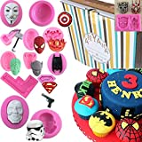 Anyana Avengers mold ironman Silicone Molds boy birthday party Fondant molds Cupcake Baking cartoon Cake Decorating Tools Gumpaste star wars Chocolate Candy Clay Moulds easy to use set of 13