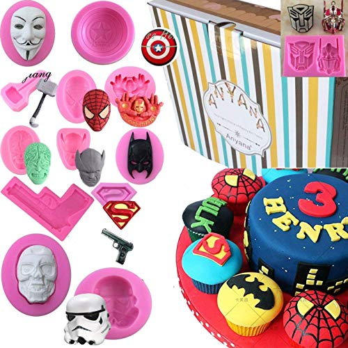 Anyana Avengers mold ironman Silicone Molds boy birthday party Fondant molds Cupcake Baking cartoon Cake Decorating Tools Gumpaste star wars Chocolate Candy Clay Moulds easy to use set of 13 -