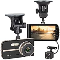 NEX ECDCG01SD-Bk Dash Camera, FHD 1080P 4 LCD, Dual Angle Lens