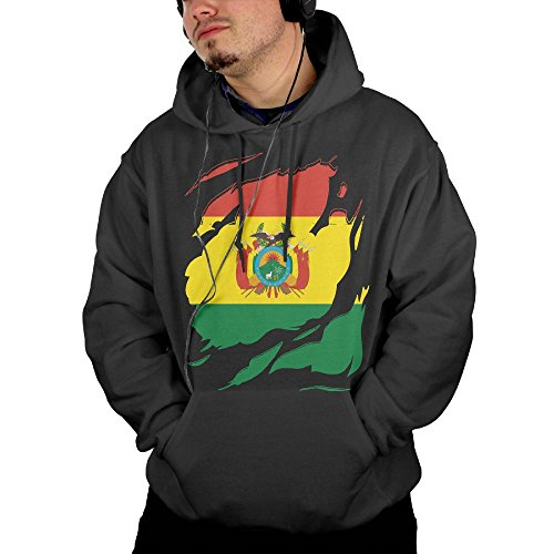Mens Bolivia National Flag Pullover Sweatshirts Hoodie With Front Pocket Large