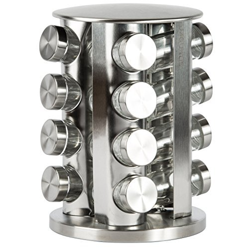 (Rotating Spice Rack with 16 Spice Jars - Durable and Stylish Revolving Seasoning Storage and Organizer with Sturdy Bottles and Stable Base Stand, Perfect for your Kitchen Countertop and Dining Table)