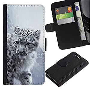Ihec-Tech / Flip PU Cuero Cover Case para Sony Xperia Z1 Compact D5503 - Majestic Snow Panther Tiger Lion