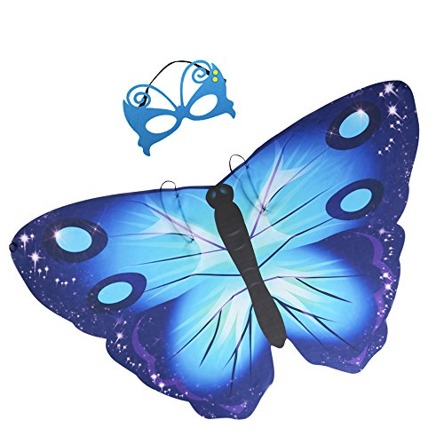 iROLEWIN Kids Dreamy Butterfly Wings Costume for Girls Fancy Dress Up Pretend Play Party Favor (#02 Blue Butterfly Wings with Mask)