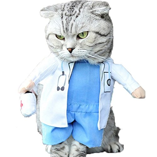 NACOCO Dog Cat Doctor Costume Pet Doctor Clothing Halloween Jeans Outfit Apparel (M)