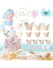 19 PCS Mermaid Cake Toppers, Mermaid Tail Theme Birthday Party Cake Decoration with Butterfly cake toppers for Birthday Party, Wedding, Baby Shower, Mermaid Party Favors Supplies