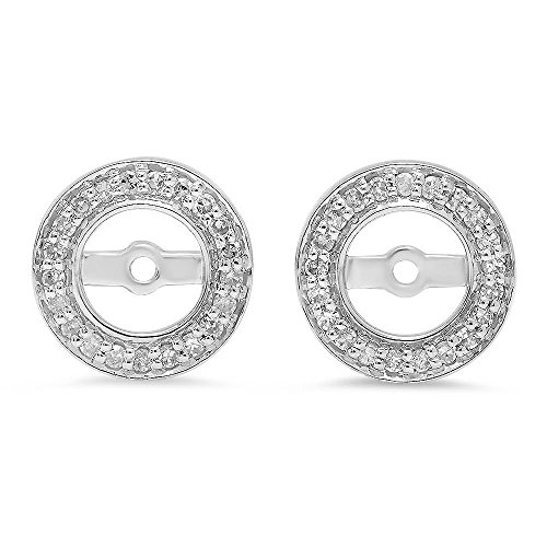 14k White Gold Earring Jacket - 0.20 Carat (ctw) 14K White Gold Round White Diamond Removable Jackets For Stud Earrings 1/5 CT
