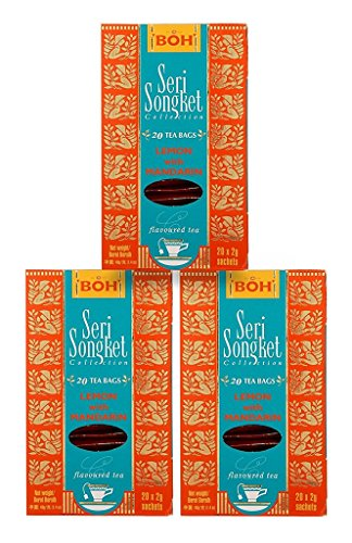 BOH Seri Songket Black Tea Gift Set, Lemon with Mandarin, 3 Boxes, 20 Tea Bags, 60 Sachets