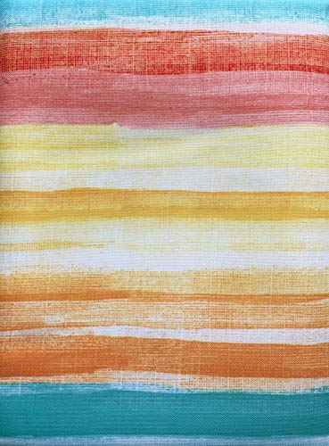 Fiesta Bright Stripes Tablecloth Blue Red Yellow Orange White - Catalina Stripe/Multi - 60 Inches by 102 Inches