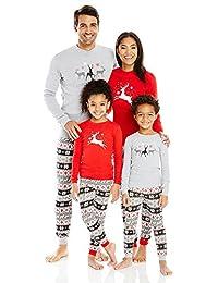 FANTASIEM - Juego de Pijama navideño a Juego para la Familia, Color Gris y Rojo