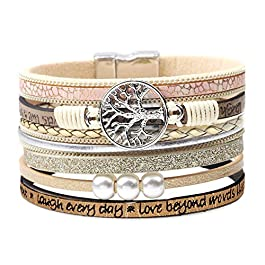 DESIMTION Womens Boho Wrap Leather Multilayer Wide Tree of Life Bracelets Jewelry for Women Teen Gir