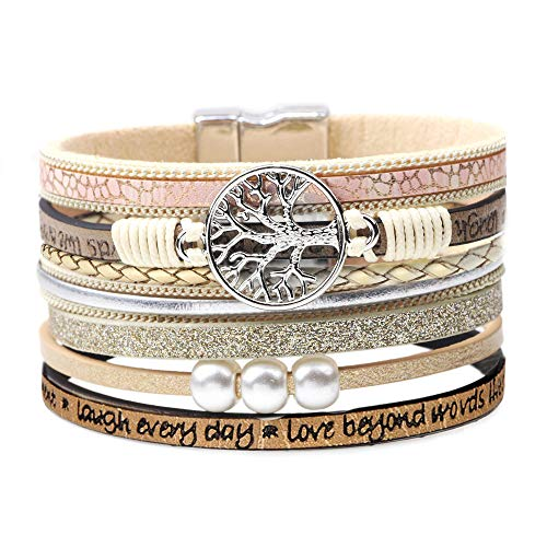 DESIMTION Inspirational Bracelets for Women Wrap Around Boho Buckle Stacking Multilayer Leather Wide Magnetic Layered Bracelet Tree of Life Jewelry for Women Mom Teen Girls Grandma from DESIMTION