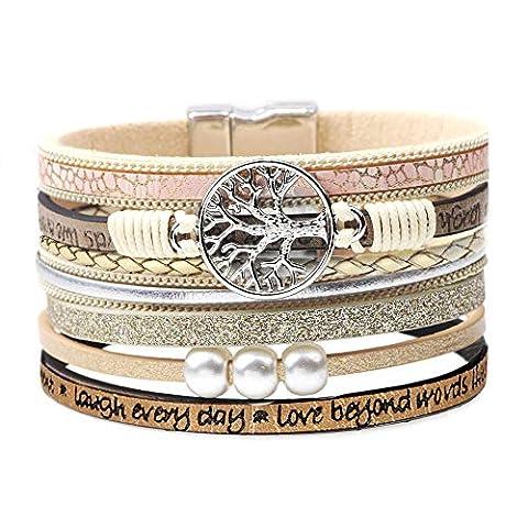 Leather Bohemian Wrap Bracelets for Women Family Boho Buckle - Sale: $12.73 USD