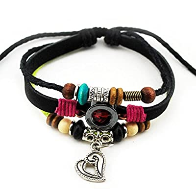 MORE FUN Charm Heart Pendant Red Crystal Black & Yellow Braided Rope Adjustable Leather Wrap Bracelet