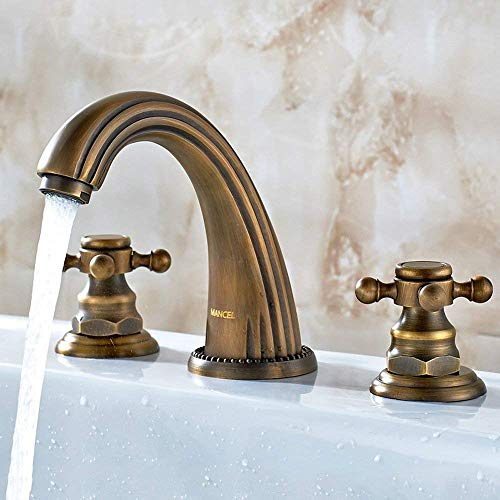 European Style All The Bronze Basin Faucet American Style Rural hot and Cold Water Divided Ancient Three Holes Kitchen Shampoo Vegetables Hand wash Bath Mixer ()